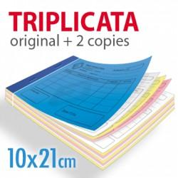 Carnets autocopiants triplicata 10x21cm
